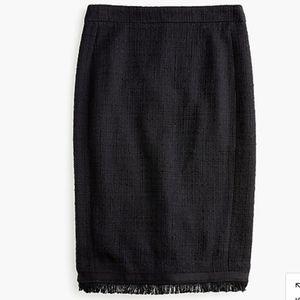 J.Crew Tweed Fringe Pencil Skirt 0